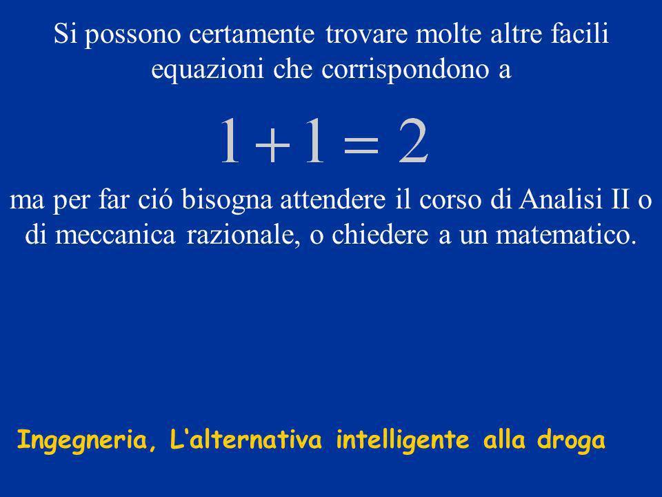 Si possono certamente trovare molte altre facili equazioni che corrispondono a ma per far ció bisogna attendere il corso di Analisi II o di meccanica razionale, o chiedere a un matematico.