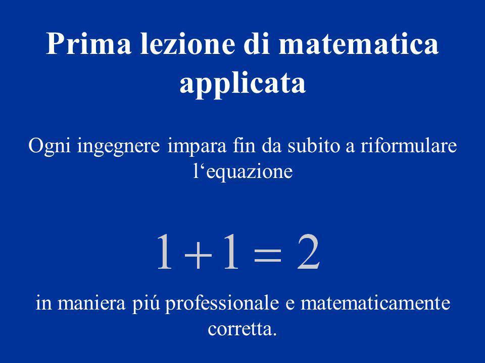 Ogni ingegnere impara fin da subito a riformulare lequazione in maniera piú professionale e matematicamente corretta.