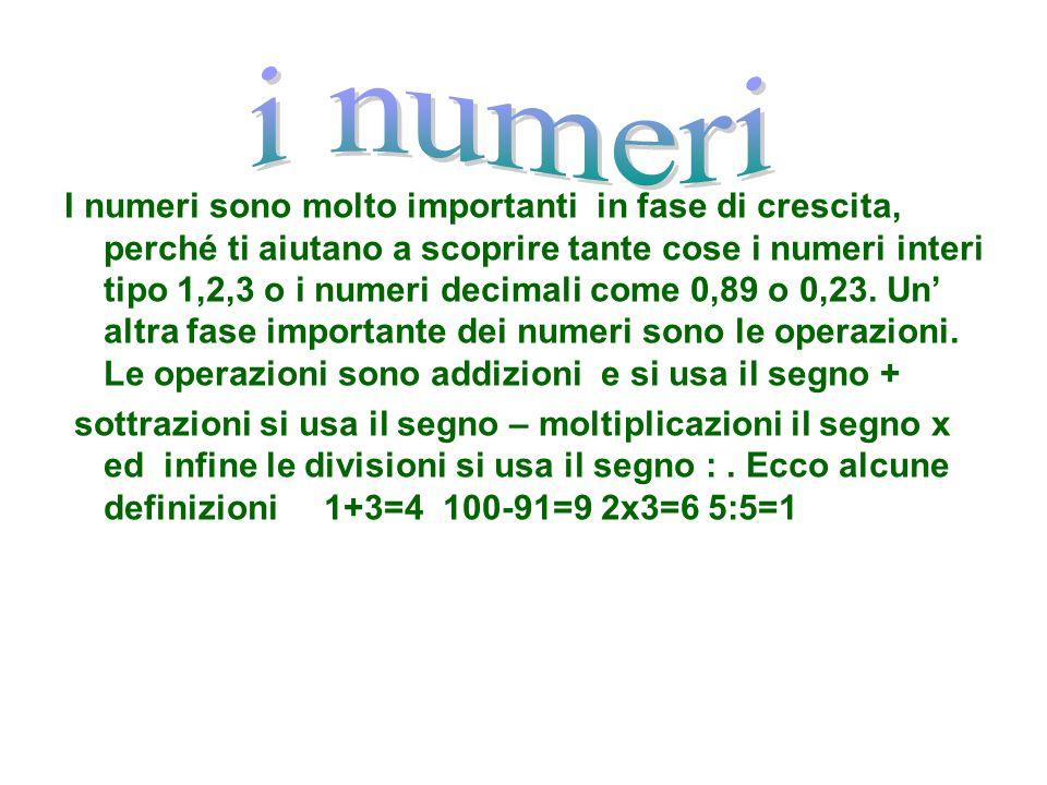 I numeri sono molto importanti in fase di crescita, perché ti aiutano a scoprire tante cose i numeri interi tipo 1,2,3 o i numeri decimali come 0,89 o