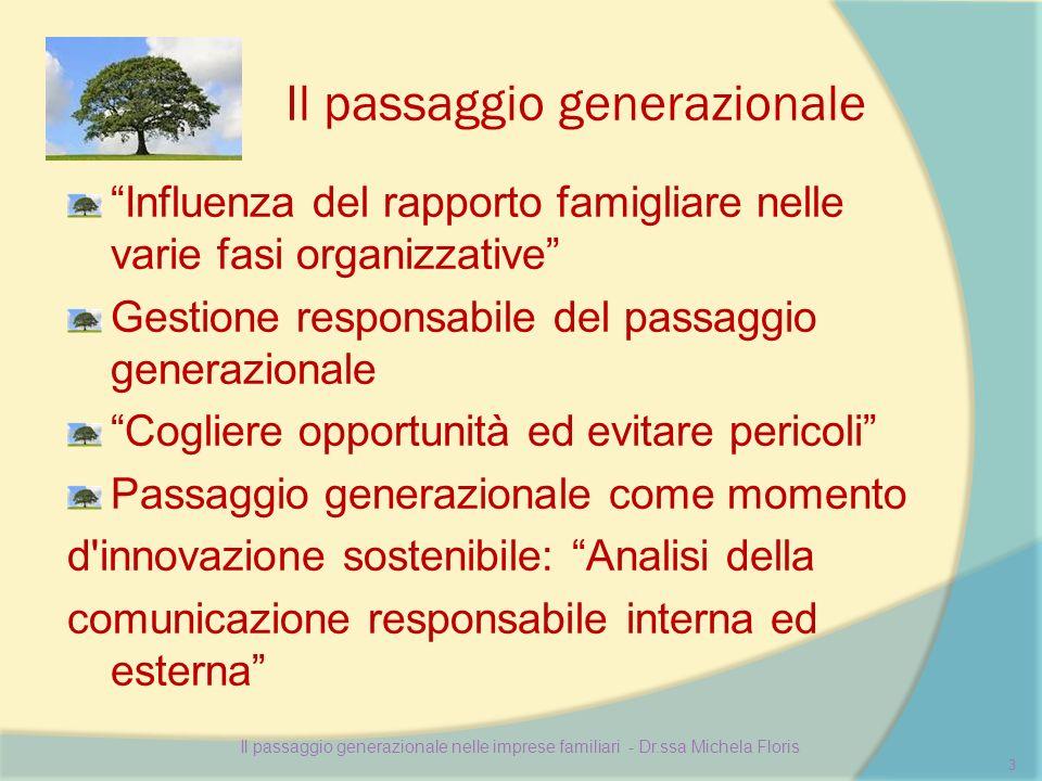 Il passaggio generazionale Influenza del rapporto famigliare nelle varie fasi organizzative Gestione responsabile del passaggio generazionale Cogliere