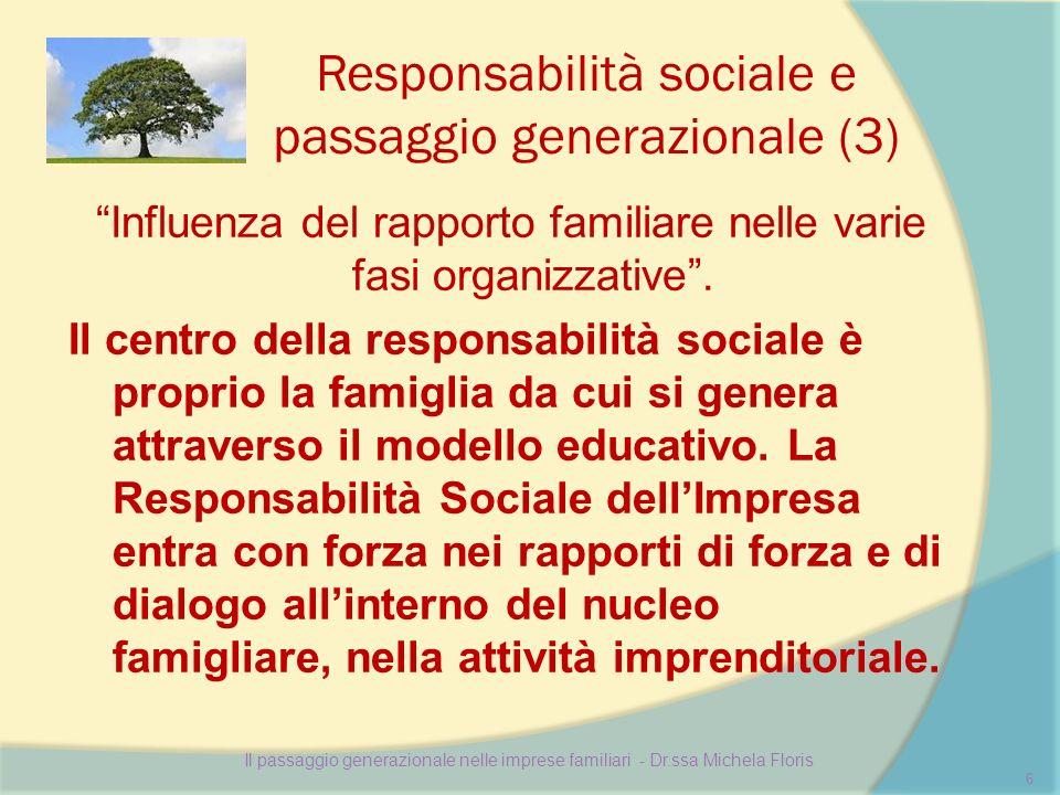 Responsabilità sociale e passaggio generazionale (3) Influenza del rapporto familiare nelle varie fasi organizzative. Il centro della responsabilità s