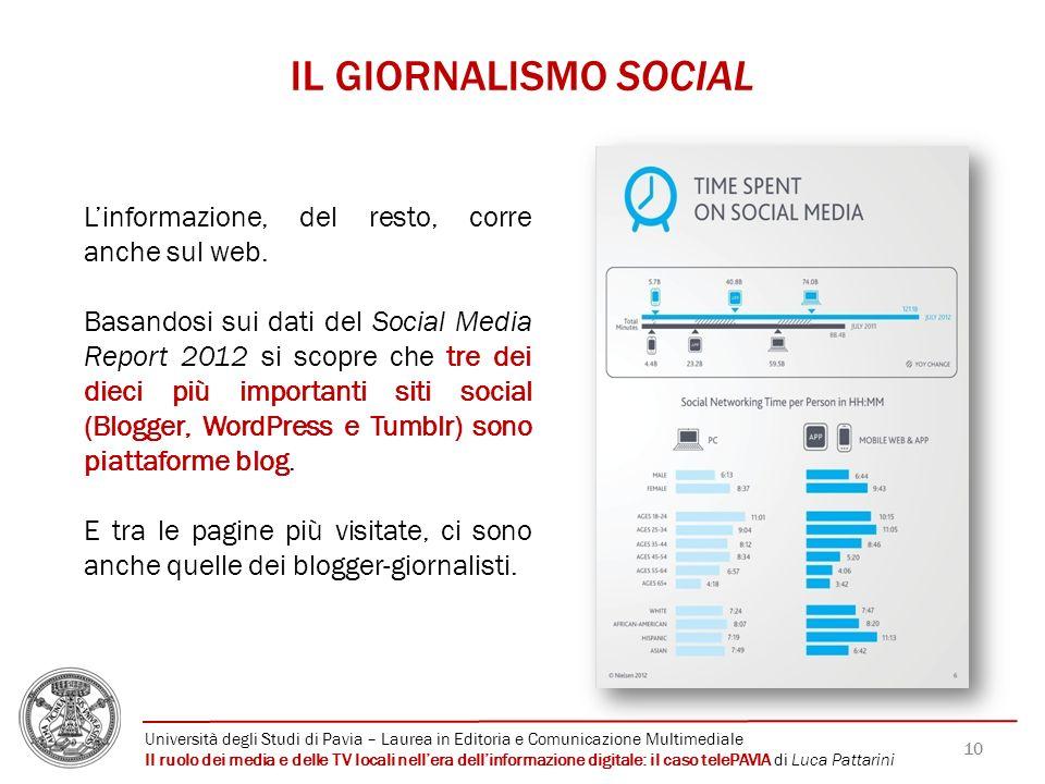 10 IL GIORNALISMO SOCIAL Linformazione, del resto, corre anche sul web. Basandosi sui dati del Social Media Report 2012 si scopre che tre dei dieci pi