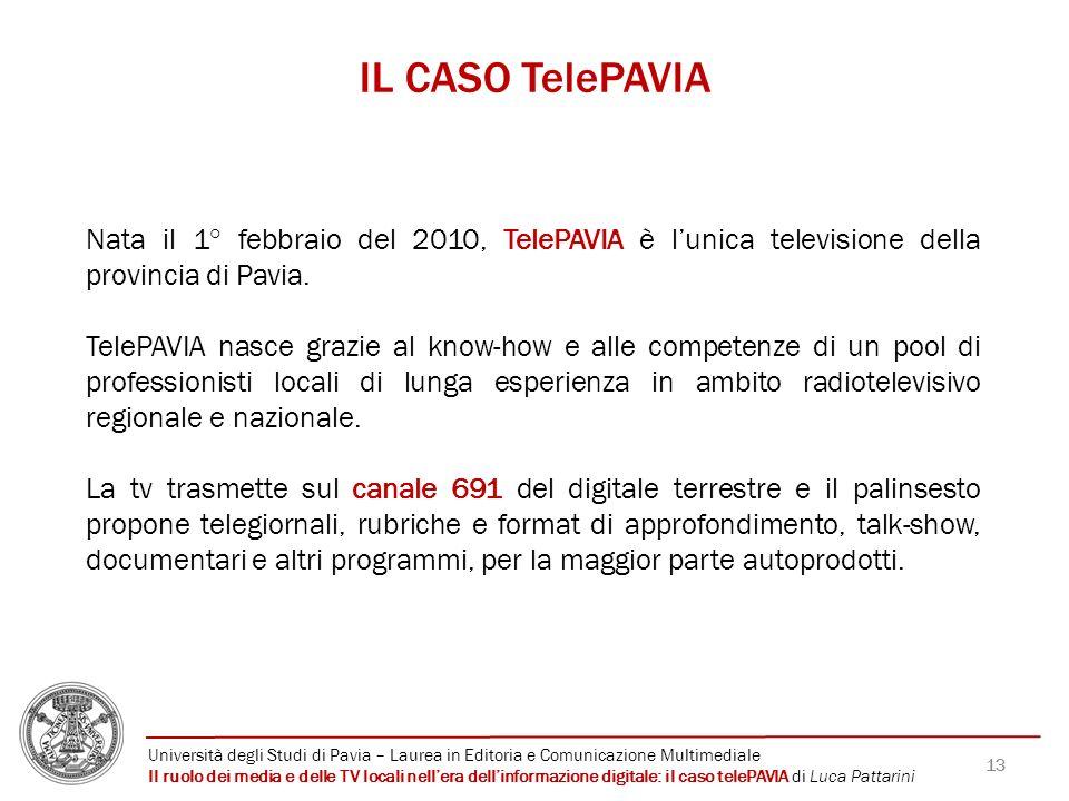 13 IL CASO TelePAVIA Nata il 1° febbraio del 2010, TelePAVIA è lunica televisione della provincia di Pavia. TelePAVIA nasce grazie al know-how e alle