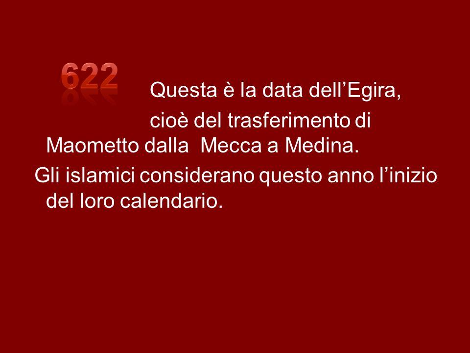 Questa è la data dellEgira, cioè del trasferimento di Maometto dalla Mecca a Medina. Gli islamici considerano questo anno linizio del loro calendario.