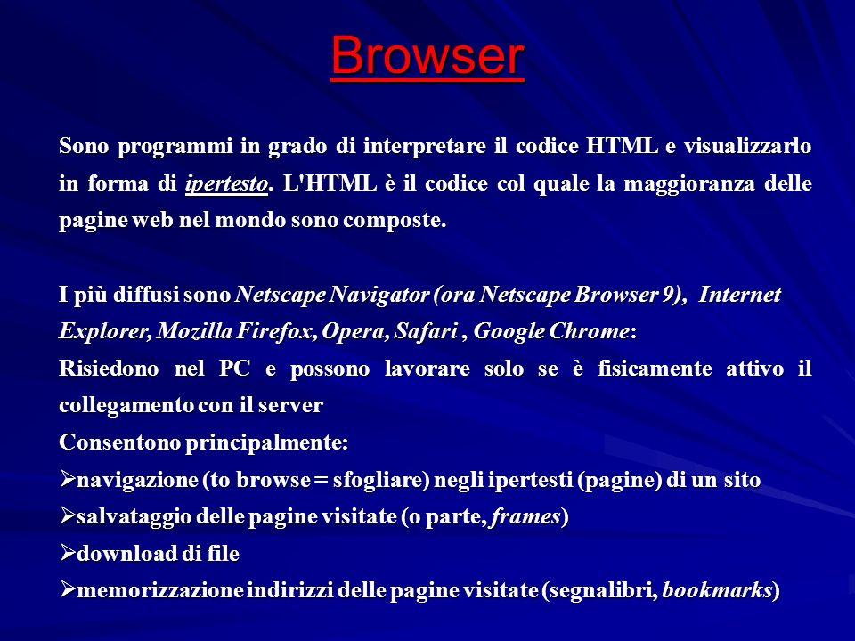 Browser Sono programmi in grado di interpretare il codice HTML e visualizzarlo in forma di ipertesto. L'HTML è il codice col quale la maggioranza dell