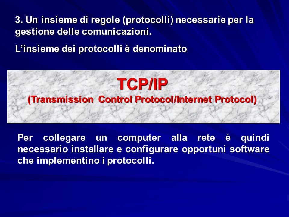 3. Un insieme di regole (protocolli) necessarie per la gestione delle comunicazioni. Linsieme dei protocolli è denominato TCP/IP (Transmission Control