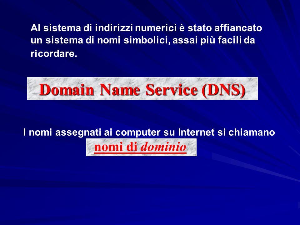 Al sistema di indirizzi numerici è stato affiancato un sistema di nomi simbolici, assai più facili da ricordare. Domain Name Service (DNS) I nomi asse