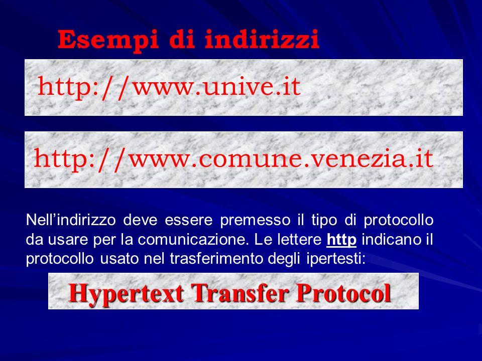 http://www.unive.it Esempi di indirizzi http://www.comune.venezia.it Nellindirizzo deve essere premesso il tipo di protocollo da usare per la comunica