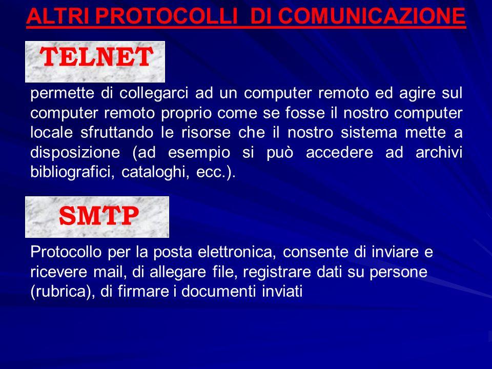 ALTRI PROTOCOLLI DI COMUNICAZIONE TELNET permette di collegarci ad un computer remoto ed agire sul computer remoto proprio come se fosse il nostro com