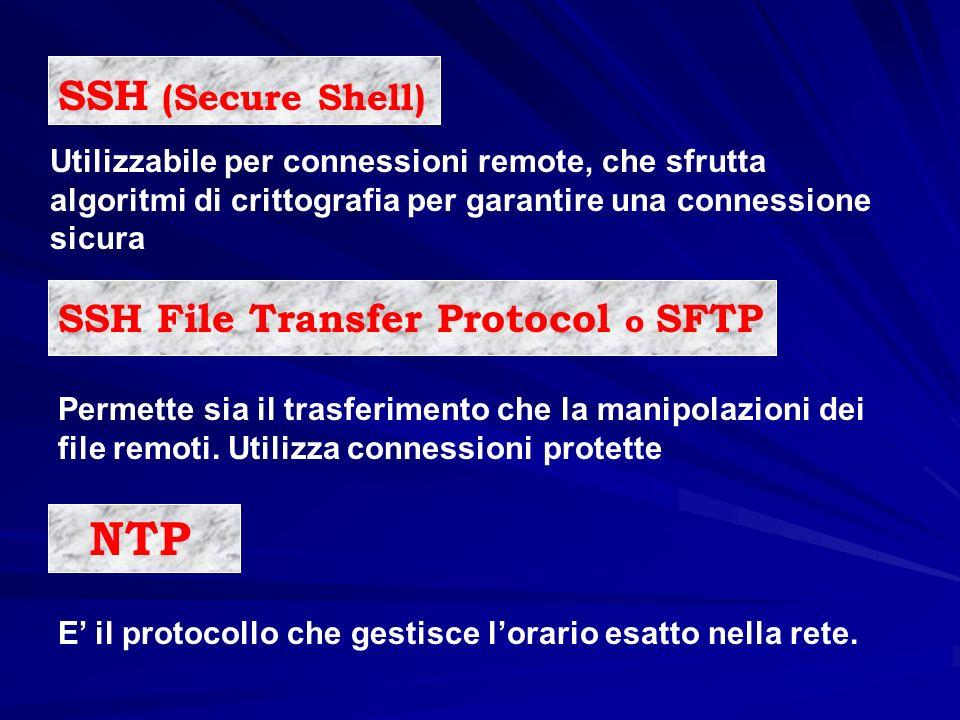 Utilizzabile per connessioni remote, che sfrutta algoritmi di crittografia per garantire una connessione sicura SSH File Transfer Protocol o SFTP E il