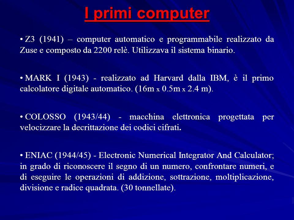 Z3 (1941) – computer automatico e programmabile realizzato da Zuse e composto da 2200 relè. Utilizzava il sistema binario. MARK I (1943) - realizzato