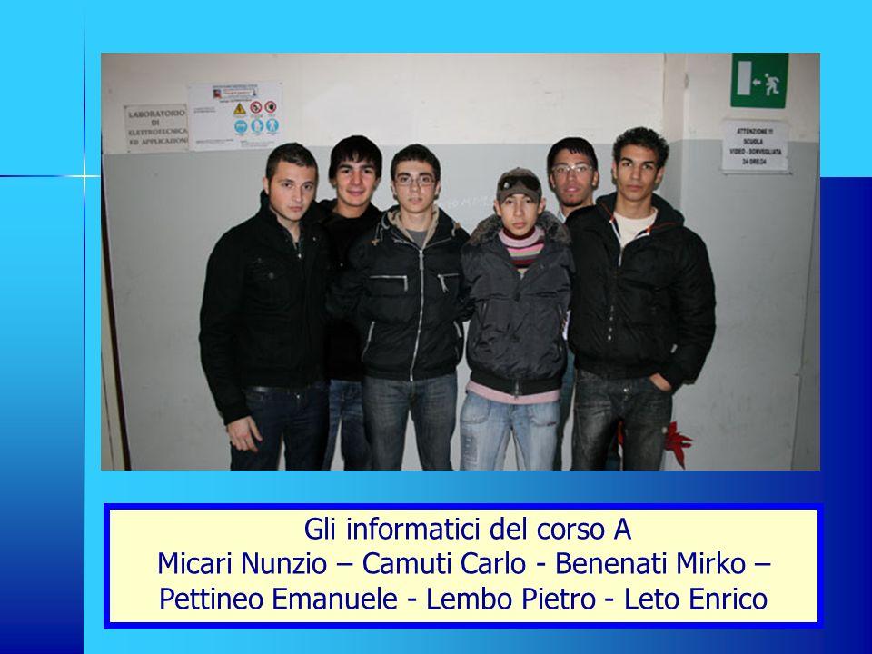 Gli informatici del corso A Micari Nunzio – Camuti Carlo - Benenati Mirko – Pettineo Emanuele - Lembo Pietro - Leto Enrico
