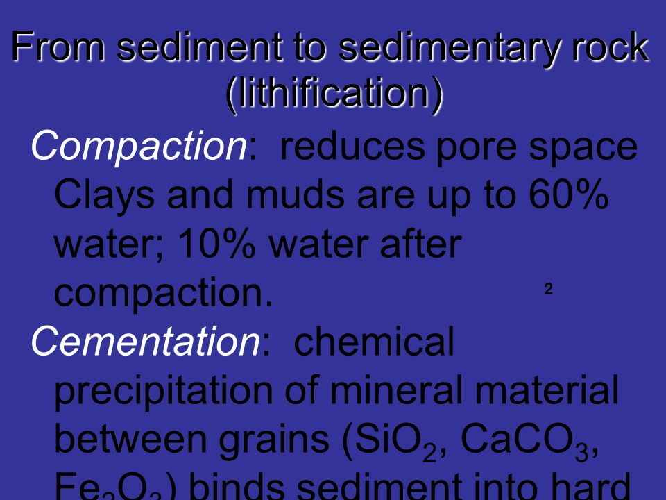 From sediment to sedimentary rock (lithification) Compaction: reduces pore space Clays and muds are up to 60% water; 10% water after compaction. Cemen