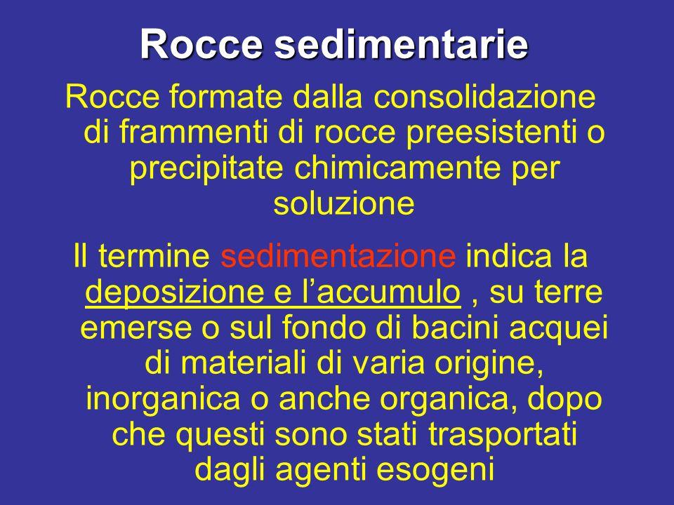 Rocce formate dalla consolidazione di frammenti di rocce preesistenti o precipitate chimicamente per soluzione Il termine sedimentazione indica la dep