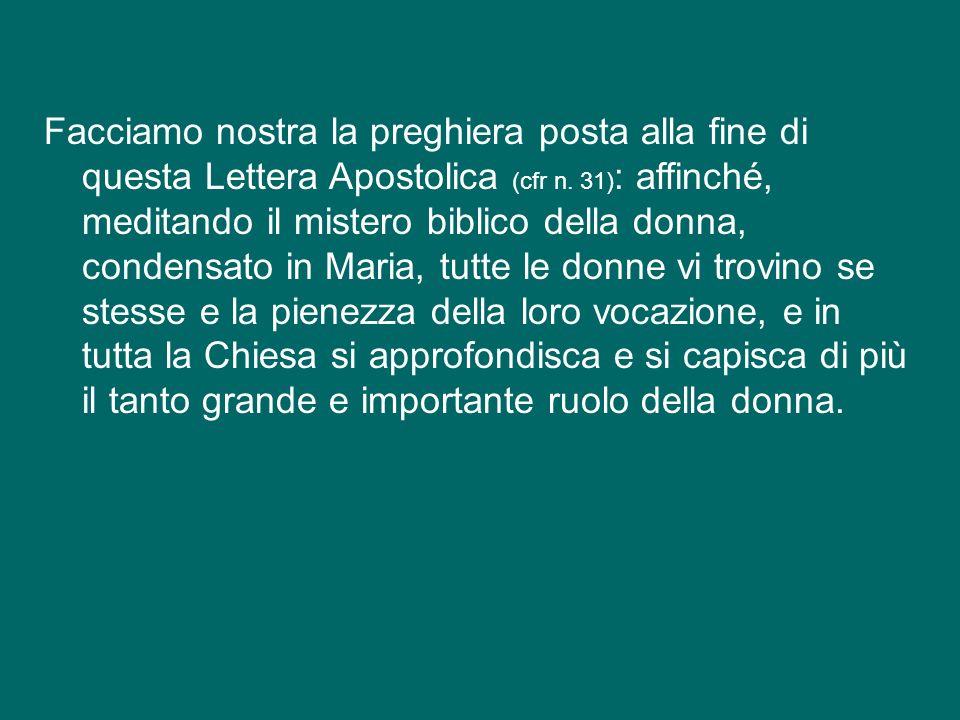 Desidero ricordare il 25° anniversario della Lettera Apostolica Mulieris dignitatem, del beato Papa Giovanni Paolo II, sulla dignità e la vocazione de