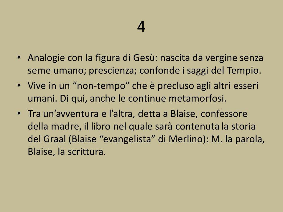 4 Analogie con la figura di Gesù: nascita da vergine senza seme umano; prescienza; confonde i saggi del Tempio. Vive in un non-tempo che è precluso ag