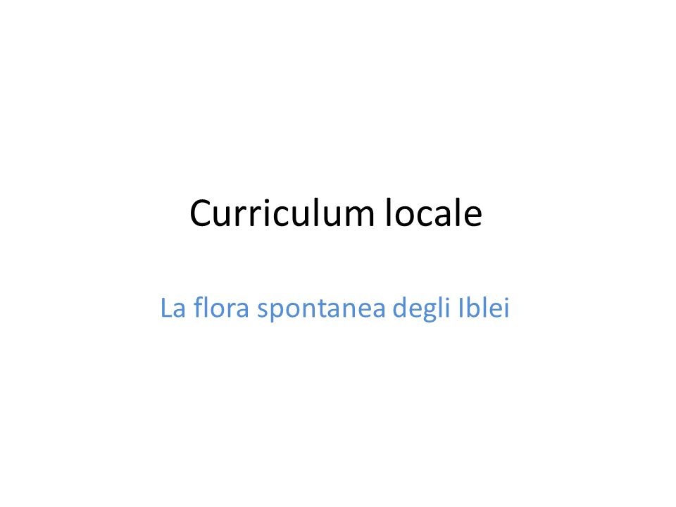 Curriculum locale La flora spontanea degli Iblei