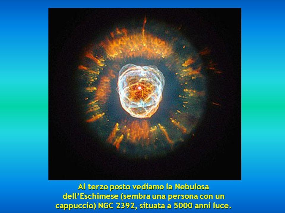 Al secondo posto vediamo la favolosa Nebulosa Mz3, chiamata Nebulosa della Formica per la forma che presenta al telescopio, situata tra 3000 e 6000 an
