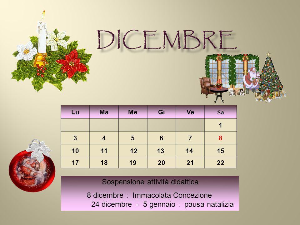 LuMaMeGiVe Sa 1 345678 1011 1213 14 15 171819202122 Sospensione attività didattica 8 dicembre : Immacolata Concezione 24 dicembre - 5 gennaio : pausa natalizia