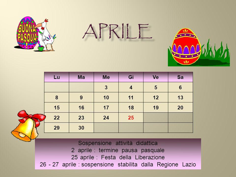 LuMaMeGiVeSa 3456 8910111213 151617181920 22232425 2930 Sospensione attività didattica 2 aprile : termine pausa pasquale 25aprile : Festa della Liberazione 26- 27 aprile : sospensione stabilita dalla Regione Lazio