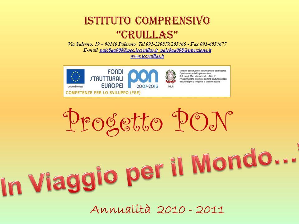 Progetto PON Annualità 2010 - 2011 Istituto Comprensivo Cruillas Via Salerno, 19 – 90146 Palermo Tel 091-220879/205466 - Fax 091-6854677 E-mail paic8a