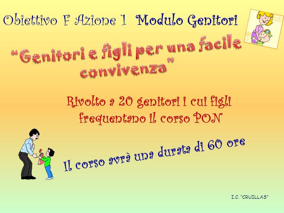 Obiettivo F Azione 1 Modulo Genitori Rivolto a 20 genitori i cui figli frequentano il corso PON Il corso avrà una durata di 60 ore I.C.