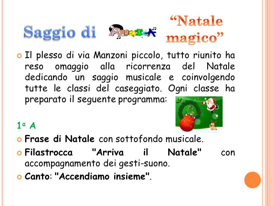 Il plesso di via Manzoni piccolo, tutto riunito ha reso omaggio alla ricorrenza del Natale dedicando un saggio musicale e coinvolgendo tutte le classi