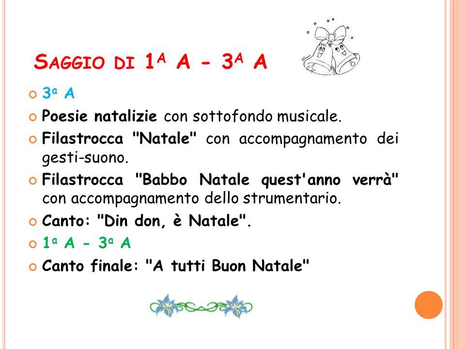 S AGGIO DI 1 A A - 3 A A 3 a A Poesie natalizie con sottofondo musicale. Filastrocca