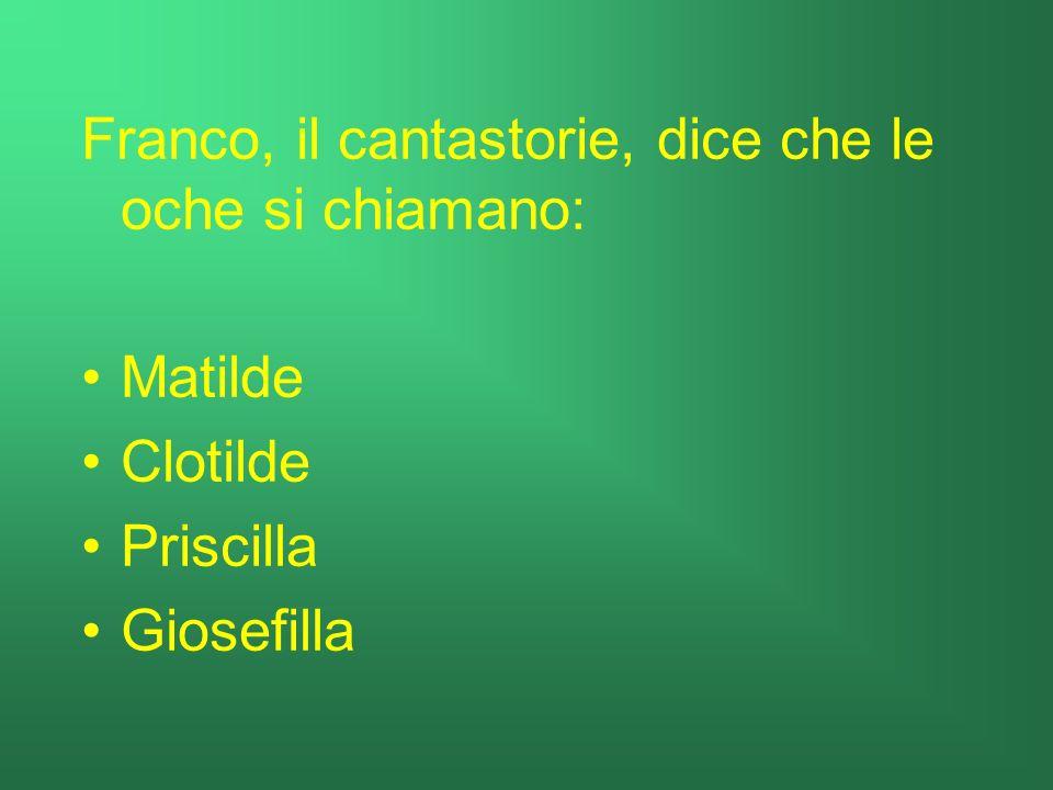 Franco, il cantastorie, dice che le oche si chiamano: Matilde Clotilde Priscilla Giosefilla