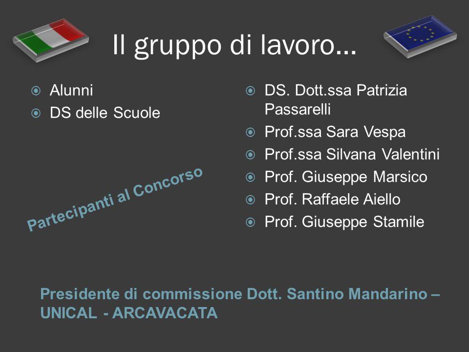Il gruppo di lavoro… Partecipanti al Concorso Presidente di commissione Dott. Santino Mandarino – UNICAL - ARCAVACATA Alunni DS delle Scuole DS. Dott.
