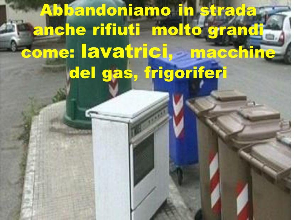 Abbandoniamo in strada anche rifiuti molto grandi come: lavatrici, macchine del gas, frigoriferi