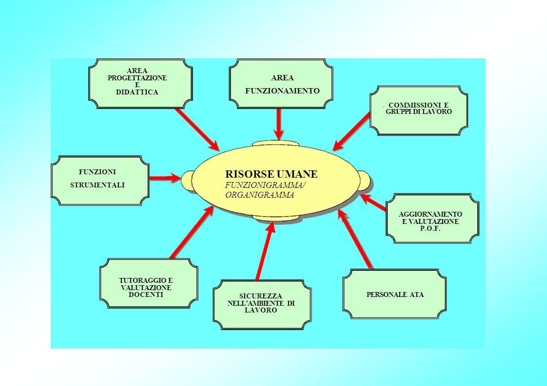 FUNZIONI STRUMENTALI AREA PROGETTAZIONE E DIDATTICA TUTORAGGIO E VALUTAZIONE DOCENTI SICUREZZA NELLAMBIENTE DI LAVORO RISORSE UMANE FUNZIONIGRAMMA/ ORGANIGRAMMA AREA FUNZIONAMENTO PERSONALE ATA COMMISSIONI E GRUPPI DI LAVORO AGGIORNAMENTO E VALUTAZIONE P.O.F.