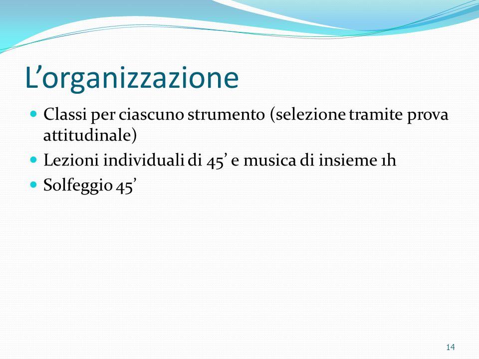 Lorganizzazione Classi per ciascuno strumento (selezione tramite prova attitudinale) Lezioni individuali di 45 e musica di insieme 1h Solfeggio 45 14