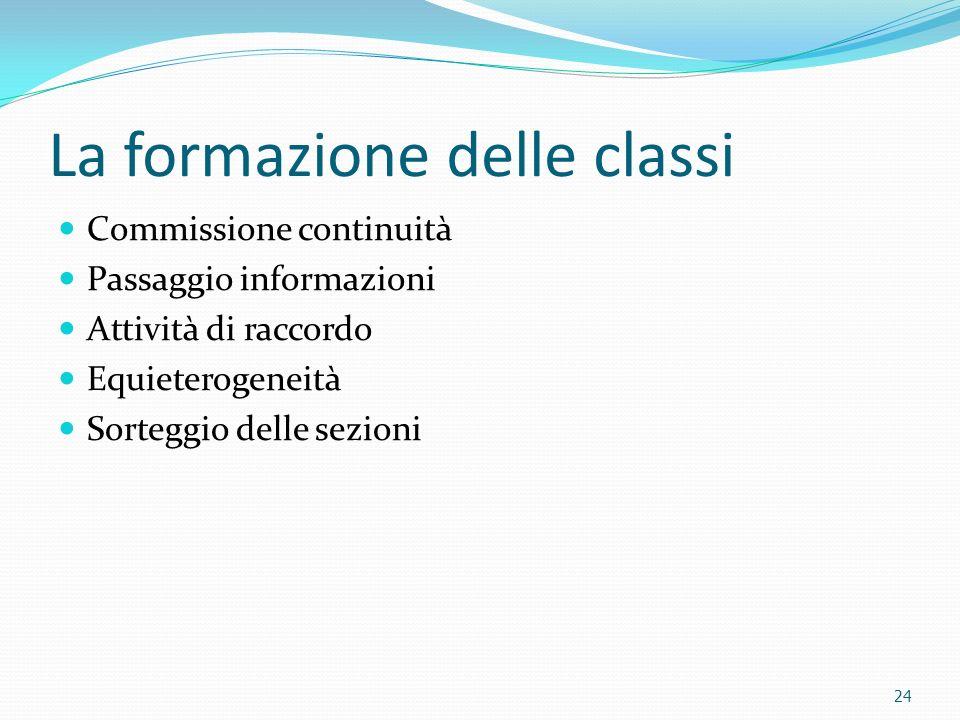 La formazione delle classi Commissione continuità Passaggio informazioni Attività di raccordo Equieterogeneità Sorteggio delle sezioni 24