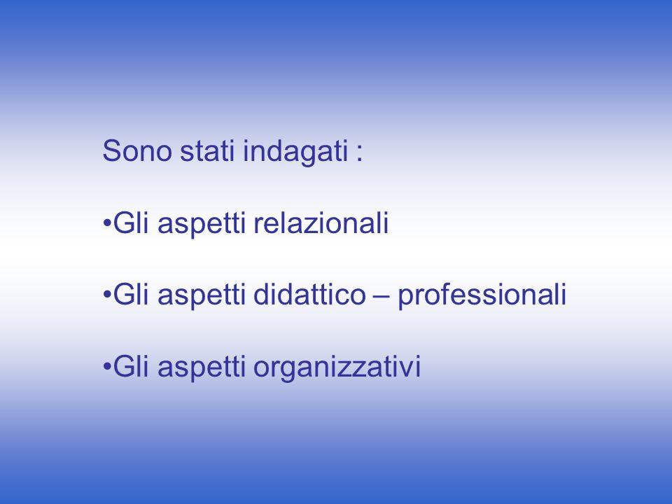 Sono stati indagati : Gli aspetti relazionali Gli aspetti didattico – professionali Gli aspetti organizzativi