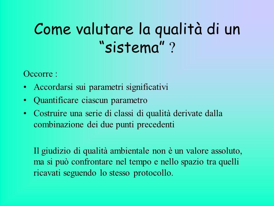 Come valutare la qualità di un sistema ? Occorre : Accordarsi sui parametri significativi Quantificare ciascun parametro Costruire una serie di classi