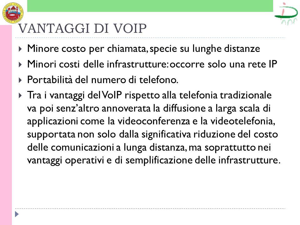 VANTAGGI DI VOIP Minore costo per chiamata, specie su lunghe distanze Minori costi delle infrastrutture: occorre solo una rete IP Portabilità del numero di telefono.