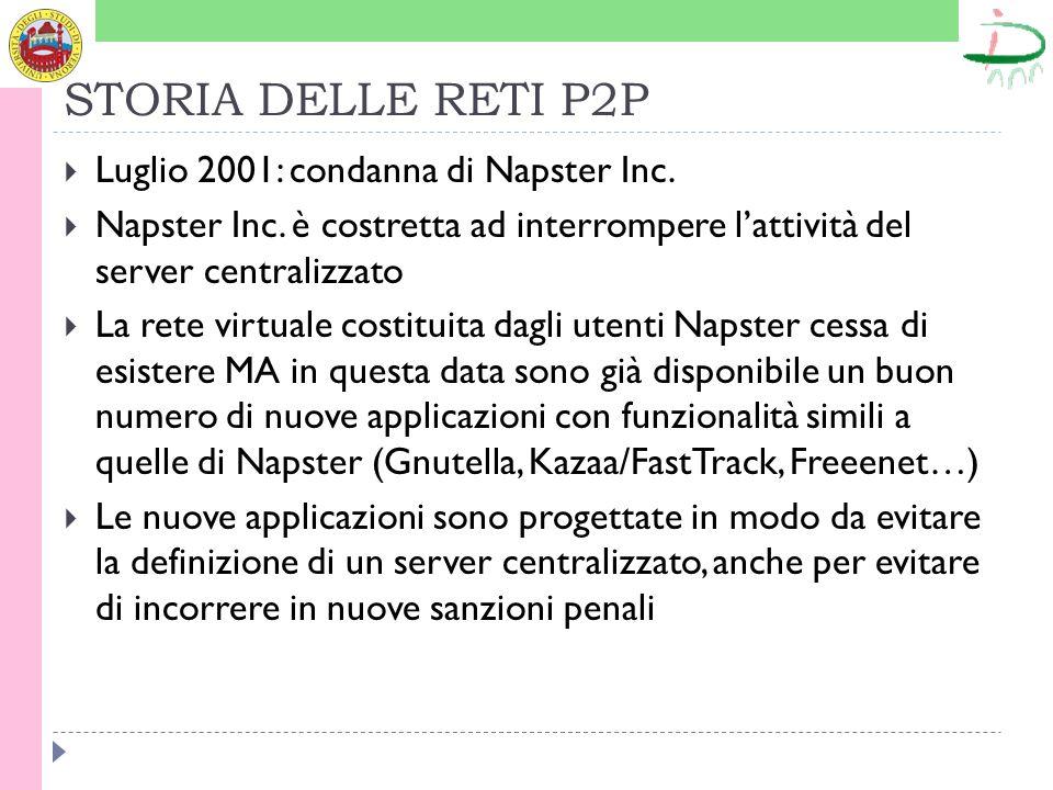 STORIA DELLE RETI P2P Luglio 2001: condanna di Napster Inc.
