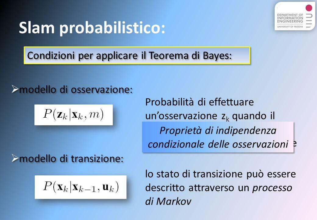 Condizioni per applicare il Teorema di Bayes: Slam probabilistico: modello di osservazione: modello di transizione: Condizioni per applicare il Teorema di Bayes: Probabilità di effettuare unosservazione z k quando il veicolo mobile e la posizione del nodo ancora sono conosciute lo stato di transizione può essere descritto attraverso un processo di Markov Proprietà di indipendenza condizionale delle osservazioni