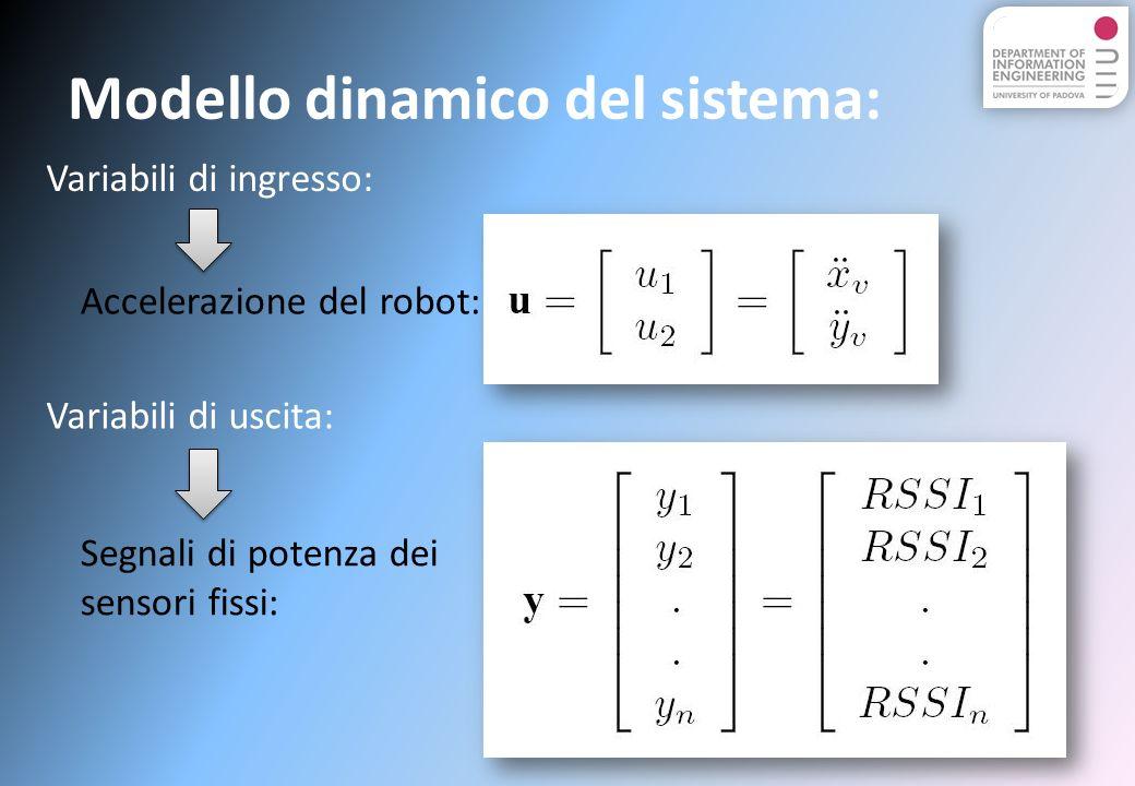 Modello dinamico del sistema: Variabili di ingresso: Variabili di uscita: Accelerazione del robot: Segnali di potenza dei sensori fissi: