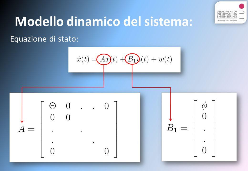Modello dinamico del sistema: Equazione di stato: