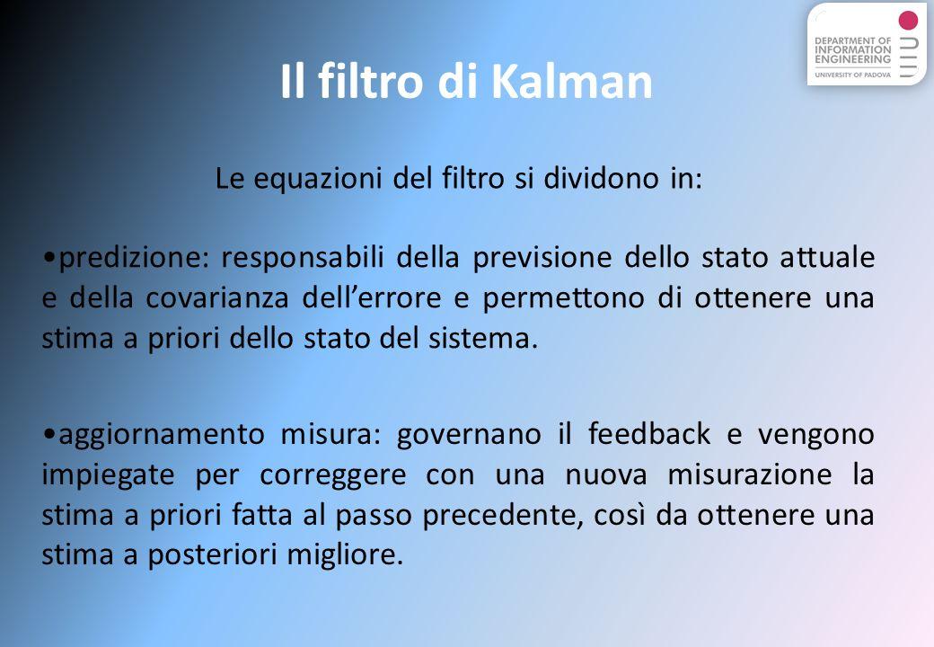 Il filtro di Kalman Le equazioni del filtro si dividono in: predizione: responsabili della previsione dello stato attuale e della covarianza dellerrore e permettono di ottenere una stima a priori dello stato del sistema.