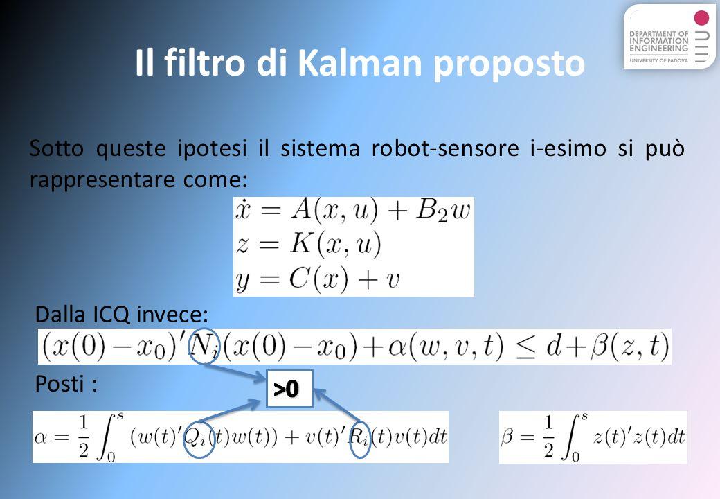 Il filtro di Kalman proposto Sotto queste ipotesi il sistema robot-sensore i-esimo si può rappresentare come: Dalla ICQ invece: Posti :
