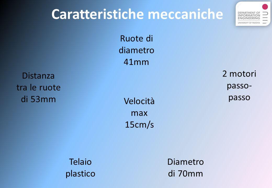 Telaio plastico 2 motori passo- passo Diametro di 70mm Velocità max 15cm/s Ruote di diametro 41mm Distanza tra le ruote di 53mm Caratteristiche meccaniche