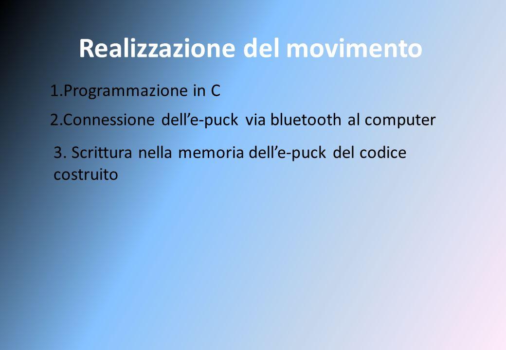 Realizzazione del movimento 1.Programmazione in C 2.Connessione delle-puck via bluetooth al computer 3.