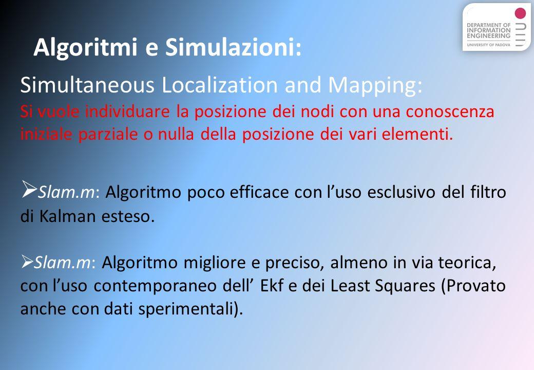 Algoritmi e Simulazioni: Simultaneous Localization and Mapping: Si vuole individuare la posizione dei nodi con una conoscenza iniziale parziale o nulla della posizione dei vari elementi.