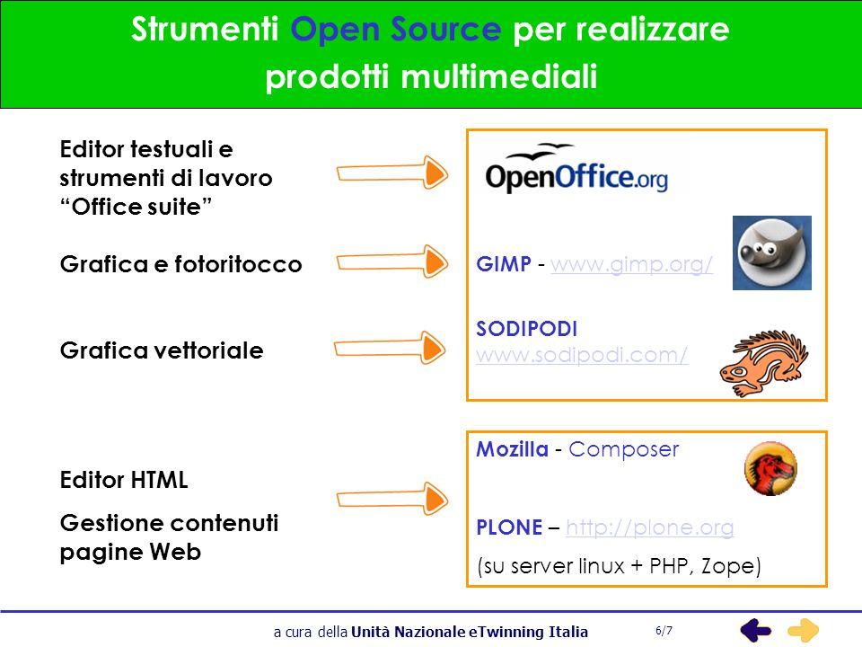 a cura della Unità Nazionale eTwinning Italia Strumenti Open Source per realizzare prodotti multimediali 6/7 Editor testuali e strumenti di lavoro Office suite Grafica e fotoritocco Grafica vettoriale Editor HTML Gestione contenuti pagine Web GIMP - www.gimp.org/www.gimp.org/ SODIPODI www.sodipodi.com/ Mozilla - Composer PLONE – http://plone.orghttp://plone.org (su server linux + PHP, Zope)