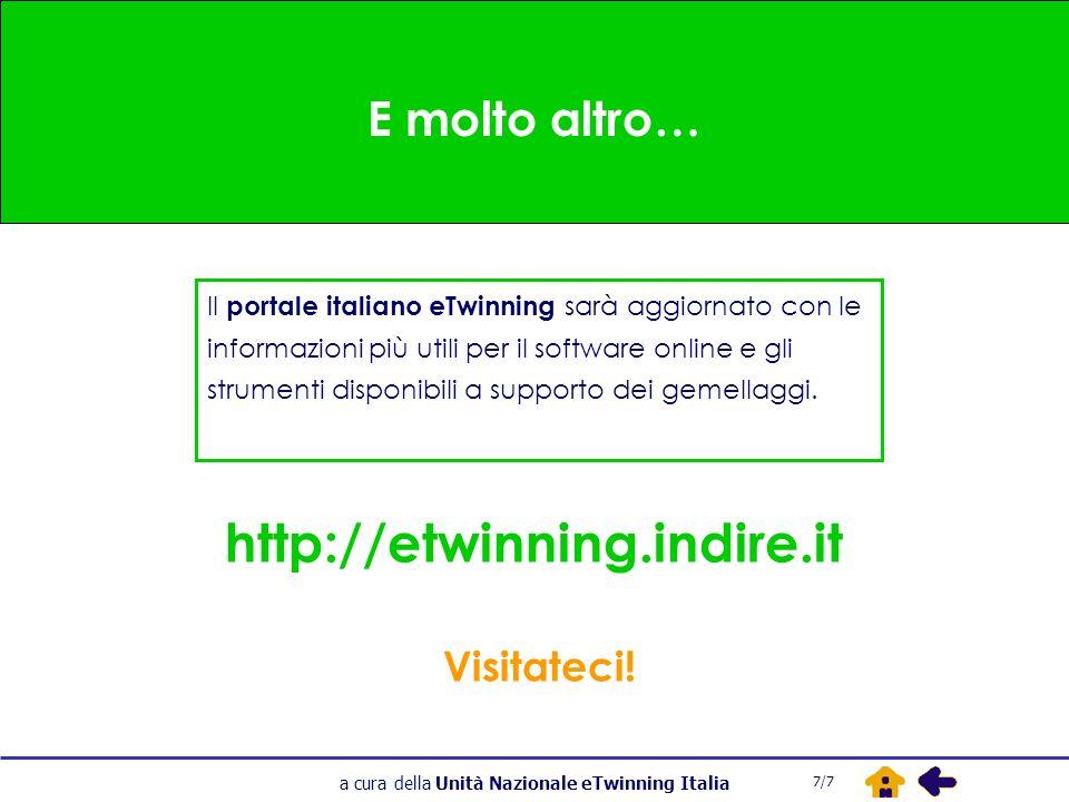 a cura della Unità Nazionale eTwinning Italia E molto altro… Il portale italiano eTwinning sarà aggiornato con le informazioni più utili per il software online e gli strumenti disponibili a supporto dei gemellaggi.