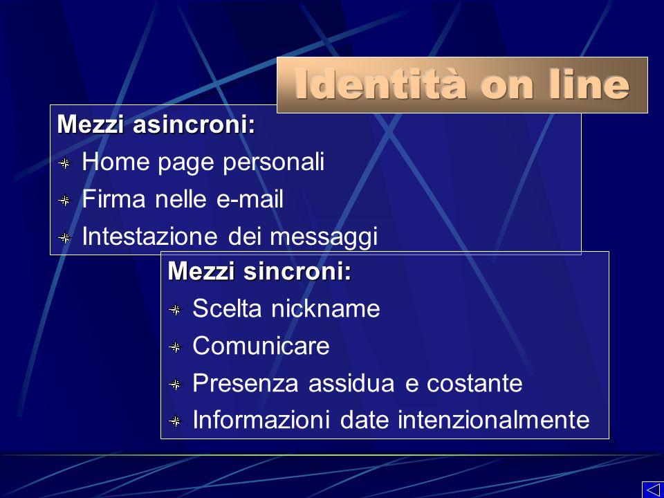 Mezzi asincroni: Home page personali Firma nelle e-mail Intestazione dei messaggi Mezzi sincroni: Scelta nickname Comunicare Presenza assidua e costan