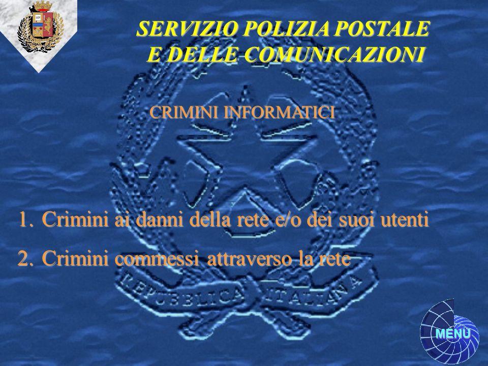 MENU SERVIZIO POLIZIA POSTALE E DELLE COMUNICAZIONI 1.Crimini ai danni della rete e/o dei suoi utenti 2.Crimini commessi attraverso la rete CRIMINI IN